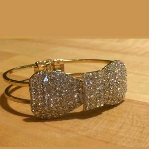 LARGE Gold & Crystal Statement Hinged Bracelet